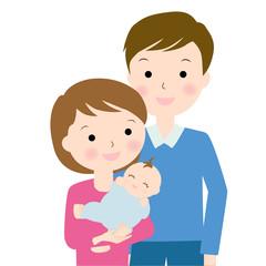 赤ちゃんとお父さんお母さんバストショット