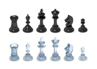 Schachfiguren aus Glas und Plastik
