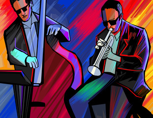Aluminium Prints Music Band jazz band with trumpet and double bass