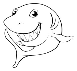 Happy cartoon shark
