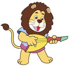 Cartoon Lion Playing an Electric Guitar