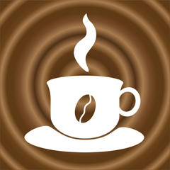Symbolic Hot Fresh Coffee Cup on Coffee  Texture Background