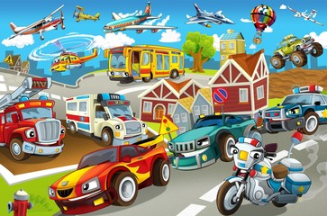 Poster Voitures enfants The vehicles in city, urban chaos