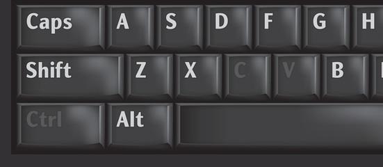 Computer keyboard keys used CTRL, C and V for copypaste