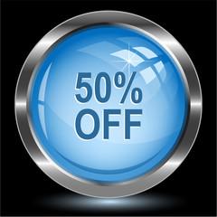 50% OFF. Internet button. Vector illustration.