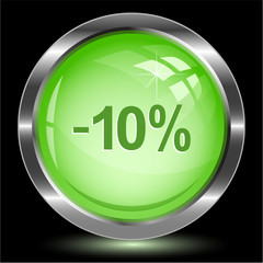 -10%. Internet button. Vector illustration.