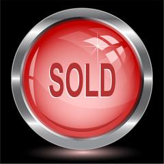 Sold. Internet button. Vector illustration.