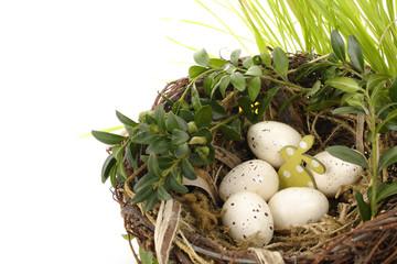 jaja wielkanocne w koszyku na białym tle