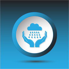 weather in hands. Plastic button. Vector illustration.