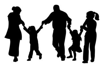 family with tree children having fun