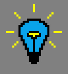 Pixel art. Blue light bulb on a gray background