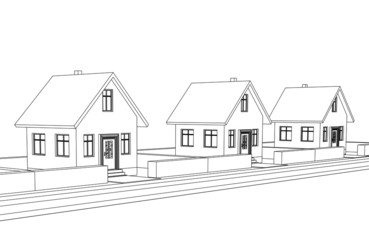city street development vector sketch