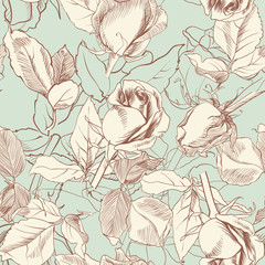 vintage roses, vector seamless background
