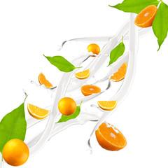 Orange in milk splash, isolated on white background