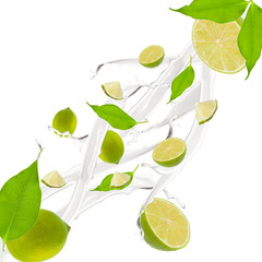 Lime in milk splash, isolated on white background