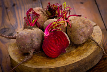 Beets on the wooden table
