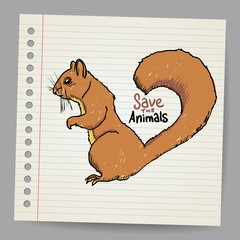 Squirrel with save the animals sign