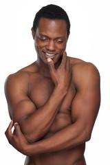 Muscular African American Man Smiling