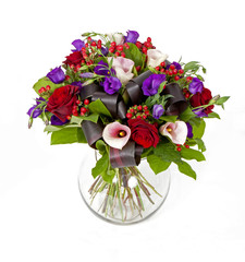 bouquet of pink, red and violet flowers isolated on white