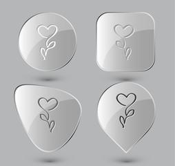 Flower-heart. Glass buttons. Vector illustration.