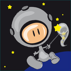 Garden Poster Cosmos cosmonaute, chasseur, personnage, martien, extraterrestre,