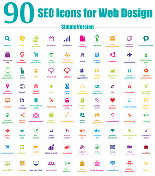 90 SEO Icons for Web Design - Simple Version
