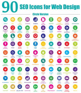 90 SEO Icons for Web Design - Circle Version