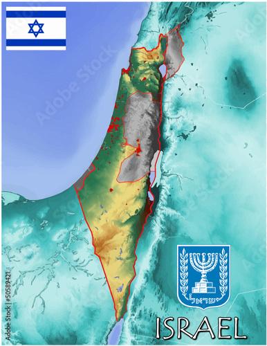 Israel Middle East Asia Europe national emblem map symbol motto