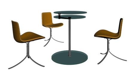 Modern Table and Three Armchairs 04