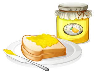 A sandwich with a mango jam