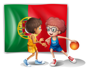 The Portugal flag and the basketball players