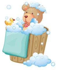 A bear inside the pail full of bubbles
