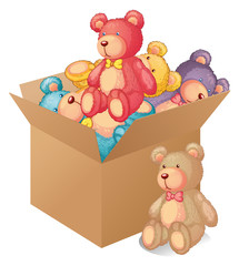 Acrylic Prints Bears A box full of toys