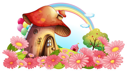 Aluminium Prints Magic world A mushroom house with a garden of flowers