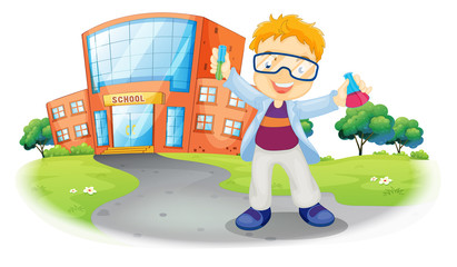 A scientist in front of a school building