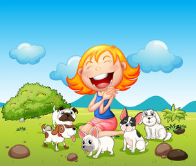 Poster de jardin Chiens A happy lady with her pets