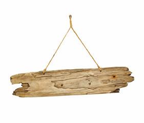 Fototapeta Driftwood wooden sign board on string obraz