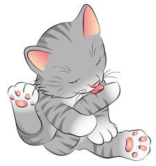 graues Katzenbaby putzt sich