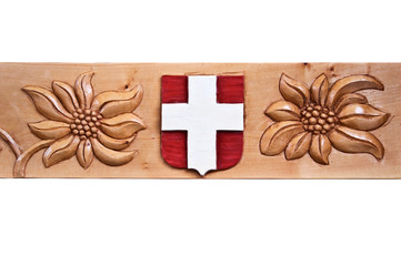 Blason savoyard et edelweiss sur bois