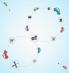 Car theme vector background.