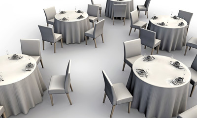white tables