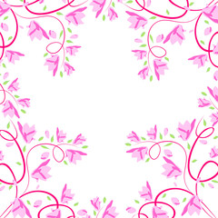 Abstract seamless vector light pattern with  pink flowers
