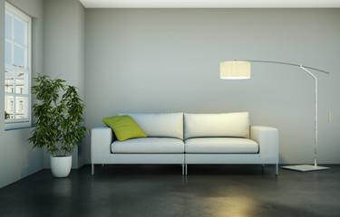 weisses Sofa mit Lampe