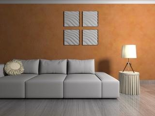 Wohndesign - Sofa vor orangener Tapete