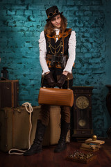 Steam punk girl with suitcase