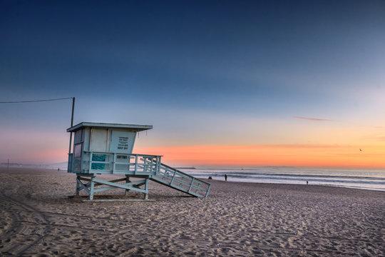 Santa Monica beach at sunset, Los Angeles