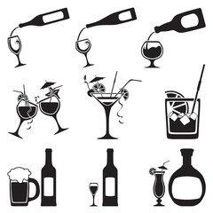 glass and bottle set. Vector illustration