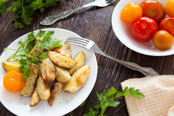 crispy potato wedges baked with spices