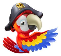Foto op Plexiglas Piraten Parrot pirate pointing