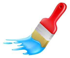 Cartoon paint brush painting